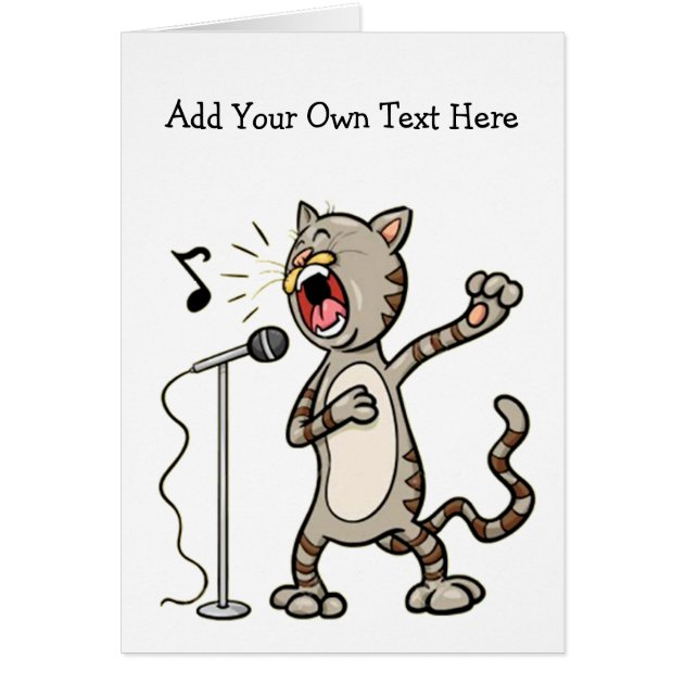 Personalized Funny Singing Cat Greeting Cards Zazzle
