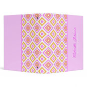 Personalized: Girly Diamond Print Binder