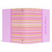 Personalized: Girly Striped Print Binder