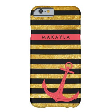 Personalized Gold Glitter Stripes with Pink Anchor Barely There iPhone 6 Case