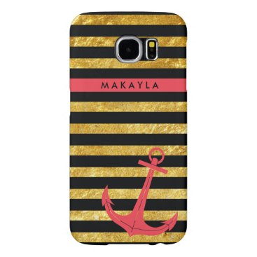 Personalized Gold Glitter Stripes with Pink Anchor Samsung Galaxy S6 Case