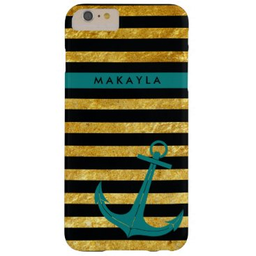 Personalized Gold Glitter Stripes with Teal Anchor Barely There iPhone 6 Plus Case