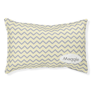 Personalized Gray and Yellow Chevron Small Dog Bed