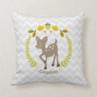 Personalized Gray Baby Deer Wreath Pillow - Boy