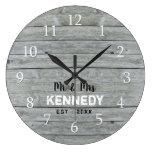 Personalized Gray Wood Wedding Anniversary Large Clock