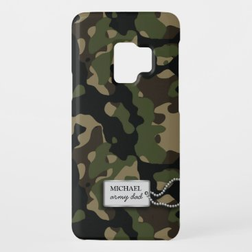Personalized Green and Brown Jungle Military Camo Case-Mate Samsung Galaxy S9 Case
