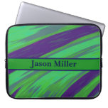 Personalized Green Blue Color Swish Laptop Computer Sleeve
