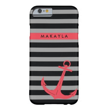 Personalized grey & black Stripes with Pink Anchor Barely There iPhone 6 Case
