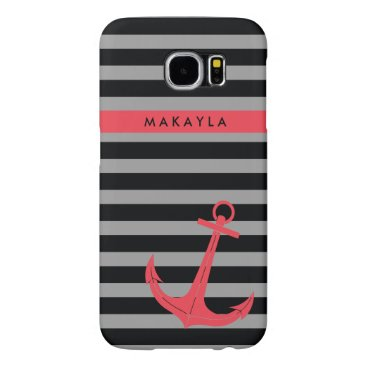 Personalized grey & black Stripes with Pink Anchor Samsung Galaxy S6 Case