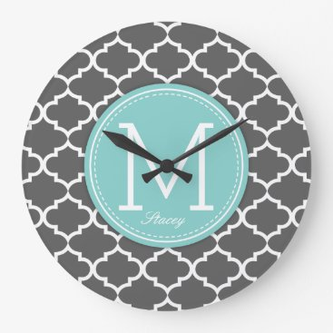Personalized grey & blue Quatrefoil with Monogram Large Clock