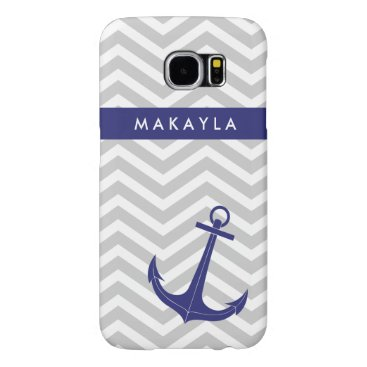 "Personalized Grey Chevron and ""navy blue"" Anchor Samsung Galaxy S6 Case"