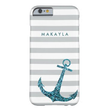 Personalized Grey Chevron with Blue Glitter Anchor Barely There iPhone 6 Case