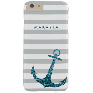 Personalized Grey Chevron with Blue Glitter Anchor Barely There iPhone 6 Plus Case