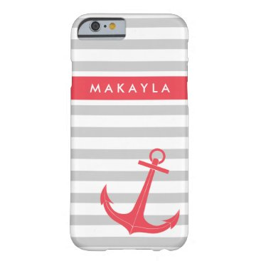 Personalized Grey Stripes and Hot Pink Anchor Barely There iPhone 6 Case