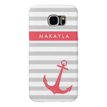 Personalized Grey Stripes and Hot Pink Anchor Samsung Galaxy S6 Case