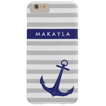 "Personalized Grey Stripes and ""navy blue"" Anchor Barely There iPhone 6 Plus Case"