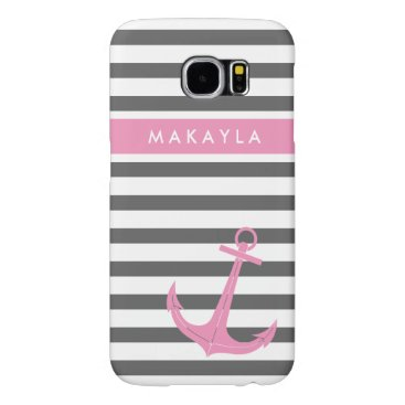 Personalized Grey Stripes and Pink Anchor Samsung Galaxy S6 Case