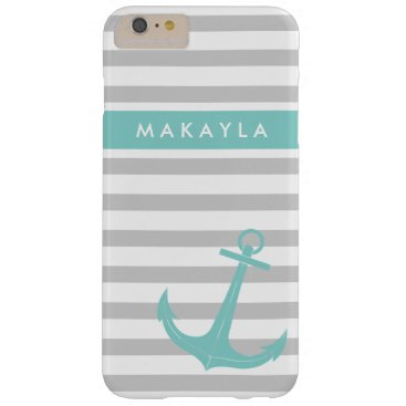 Personalized Grey Stripes and riptide blue Anchor Barely There iPhone 6 Plus Case