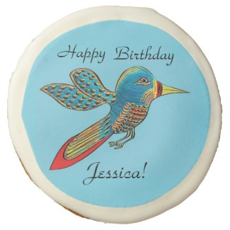 Personalized Happy Birthday Hummingbird Cookies