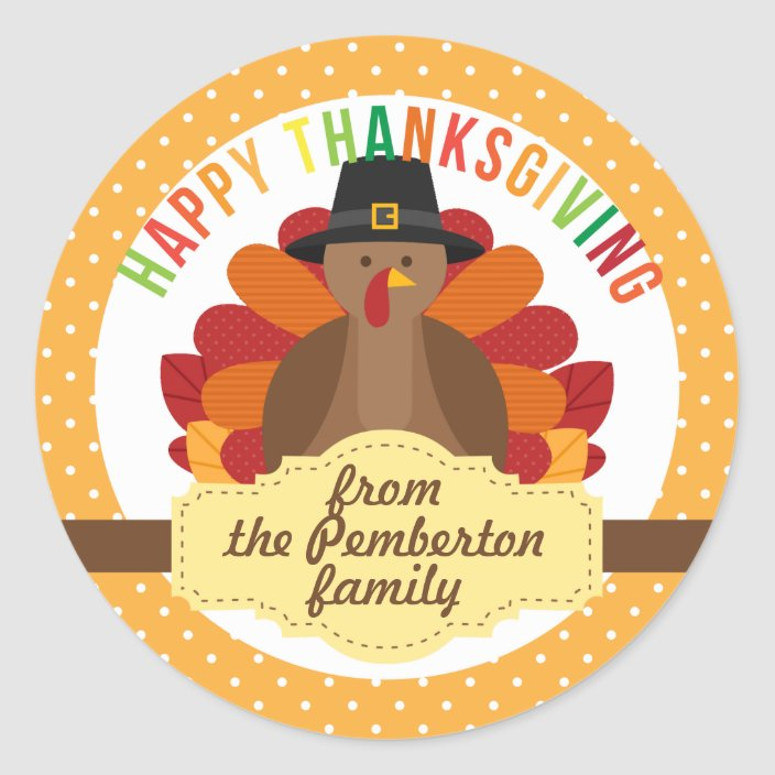 Personalized Happy Thanksgiving Cute Turkey Classic Round Sticker Zazzle Com