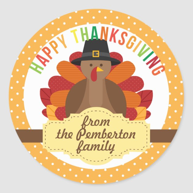 Fall Turkey Wallpaper Personalized Happy Thanksgiving Cute Turkey Classic Round