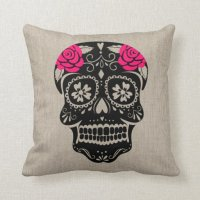 Personalized Hipster Sugar Skull Throw Pillow   Zazzle