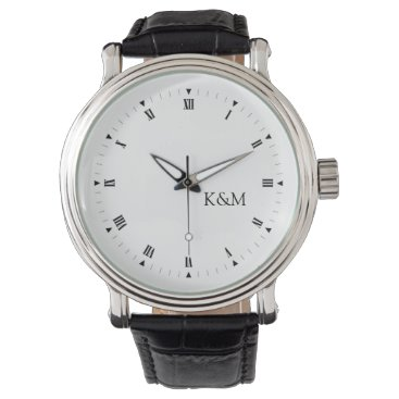Personalized his and her initials wristwatches