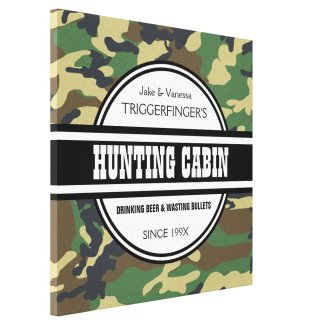 Personalized Hunting Cabin with Camo Print