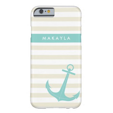 Personalized Ivory Stripes and riptide blue Anchor Barely There iPhone 6 Case