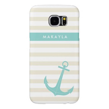 Personalized Ivory Stripes and riptide blue Anchor Samsung Galaxy S6 Case