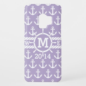 Personalized Lavender Nautical Anchors Pattern Case-Mate Samsung Galaxy S9 Case