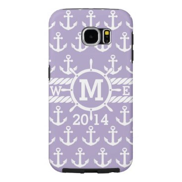 Personalized Lavender Nautical Anchors Pattern Samsung Galaxy S6 Case