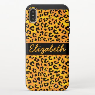 Personalized Leopard Print iPhone XS Max Slider Case