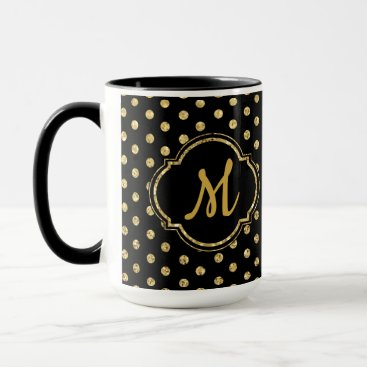 Personalized Monogram Gold Polka-Dots Pattern Mug