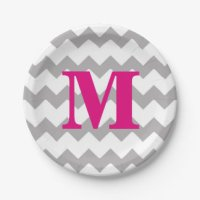 Pink And Grey Chevron Plates | Zazzle