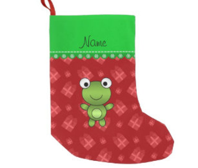 Personalized Name Baby Frog Red Christmas Presents Small Christmas Stocking