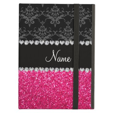 Personalized name black damask pink glitter iPad air case