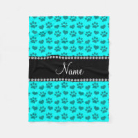 Personalized name bright aqua hearts and paw print fleece blanket
