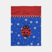 Personalized name ladybug blue snowflakes fleece blanket