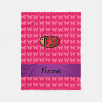 Personalized name ladybug pink butterflies fleece blanket