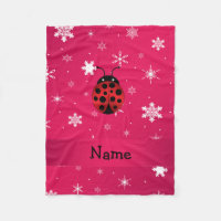 Personalized name ladybug pink snowflakes fleece blanket