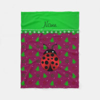 Personalized name ladybug plum trees stars fleece blanket
