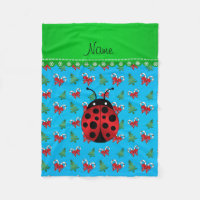 Personalized name ladybug sky blue candy canes bow fleece blanket