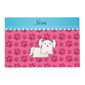 Personalized name maltese pink dog paws laminated placemat