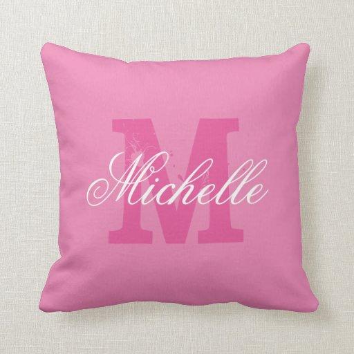 Personalized name monogram pink throw pillow  Zazzle