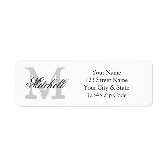 Personalized Name Monogram Return Address Labels Zazzle