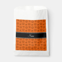 Personalized name orange hearts and paw prints favor bag