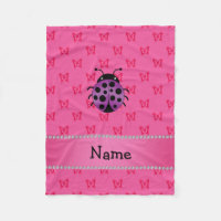 Personalized name purple ladybug pink butterflies fleece blanket