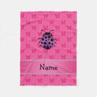 Personalized name purple ladybug pink butterflies fleece blanket