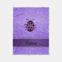 Personalized name purple ladybug purple glitter fleece blanket